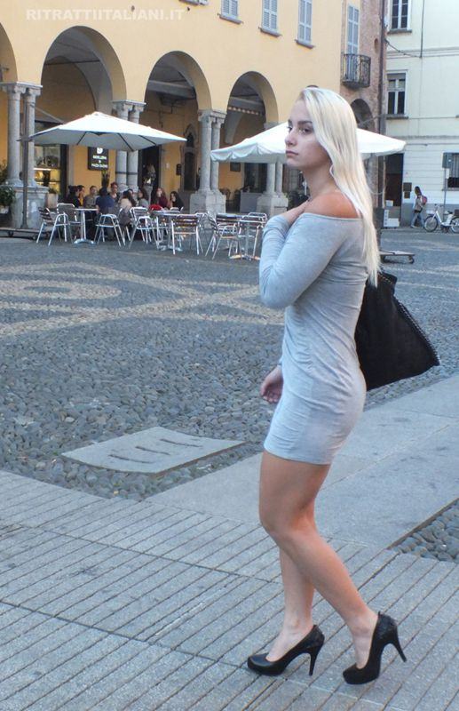 italian girls pics. Alena walking in Pavia, a small italian town in the north