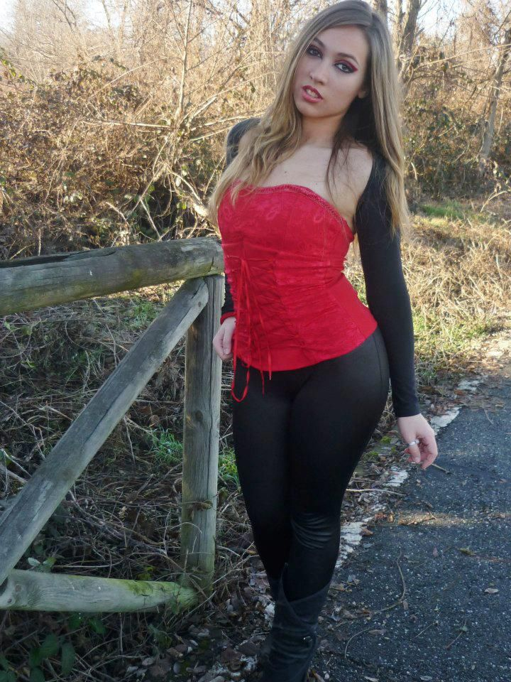 Chiara in black and red