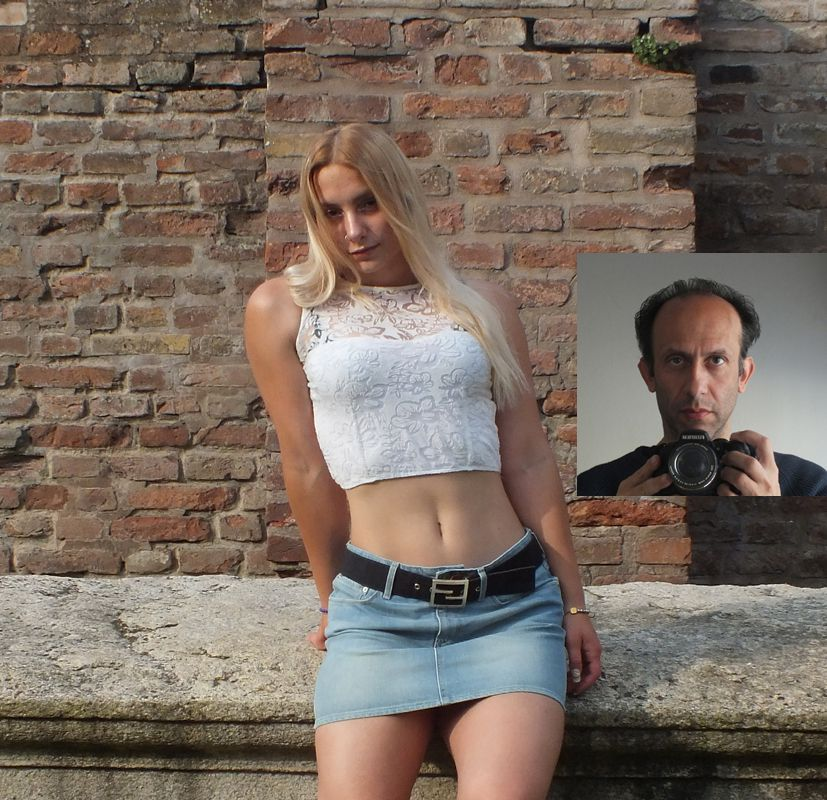Photographer and model, portrait of a young italian girl in Piacenza Italy
