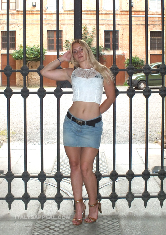 Alena blonde tall italian model during her shooting in Piacenza (Emilia Romagna, north Italy)