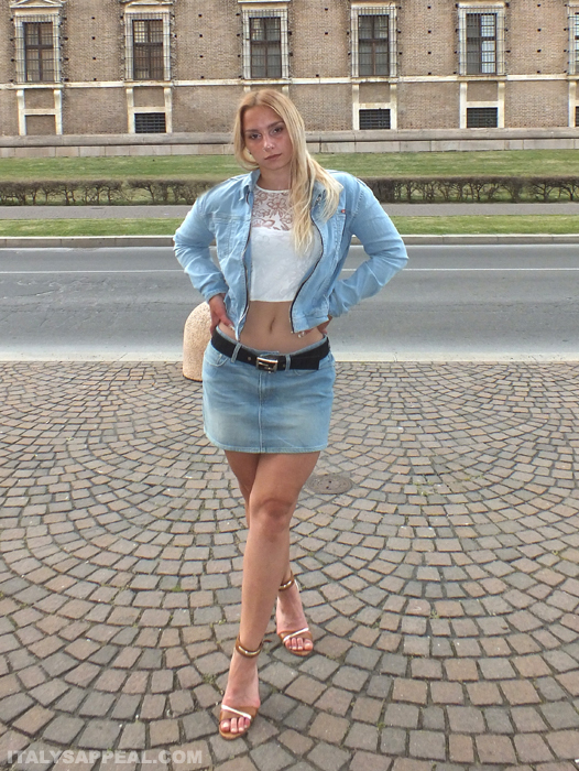 italian model trying summer outfits in Piacenza Italy
